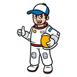 Cartoon Astronaut Wearing a Hat Vector Illustration