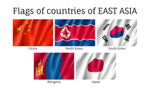 Set Of Waving Flags Of East As...