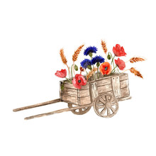 Watercolor Cart With Flowers O...