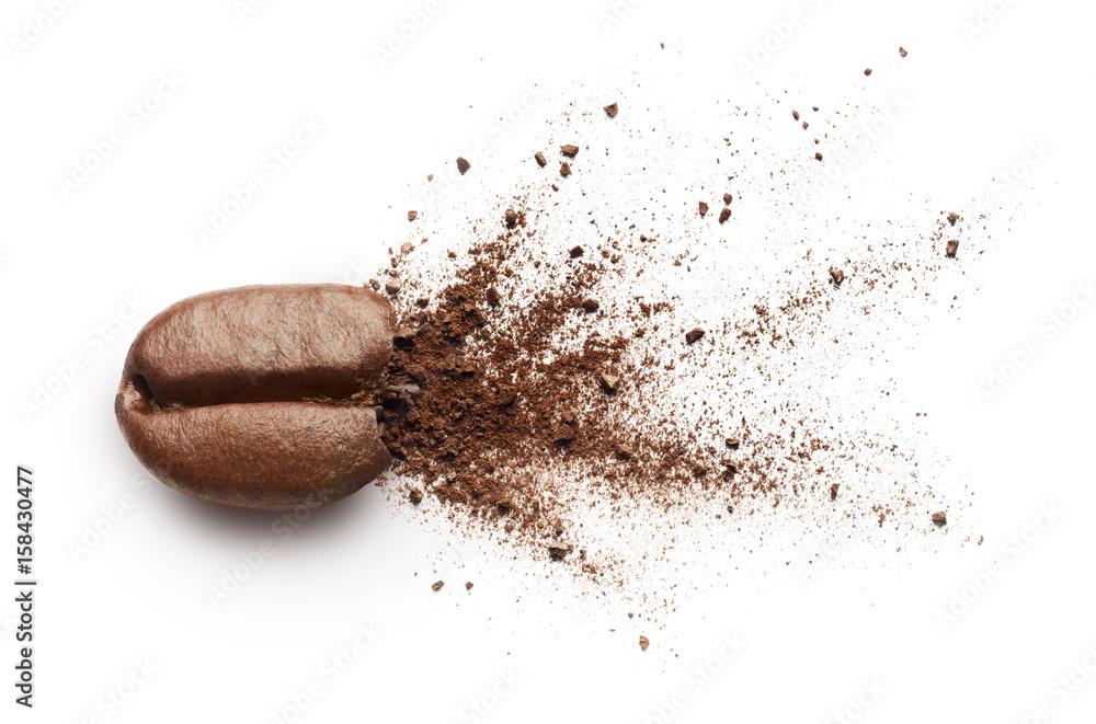 Coffee powder burst from coffee bean