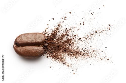 Coffee powder burst from coffee bean Fototapeta