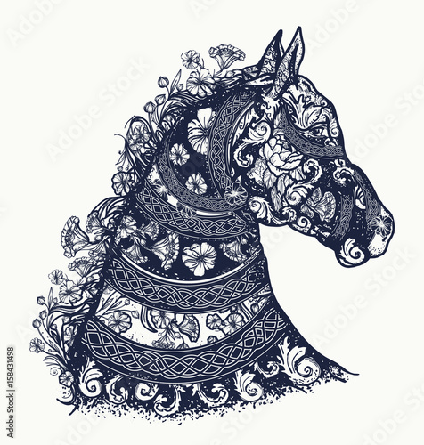 Horse Tattoo And T Shirt Design Symbol Of Freedom Strength Grace