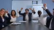 Business team success achievement, people raising arms and smiling