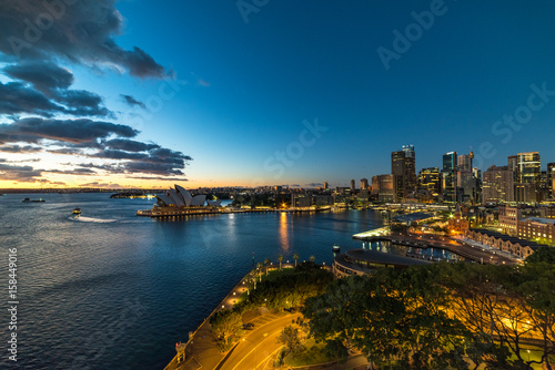 Poster Oceanië Sydney Circular Quay and CBD night view