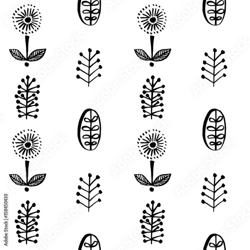 Simple leaves and flowers in scandinavial style seamless pattern Fototapeta