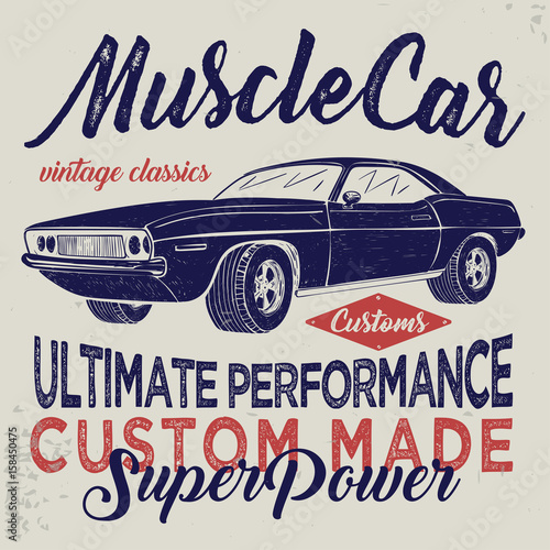 Vintage American Muscle Car Sketch Illustration Typography Buy