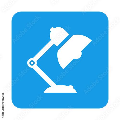 Stampe  Icono plano lampara tipo flexo en cuadrado azul