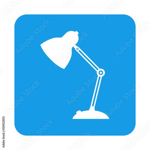 Canvastavla  Icono plano lampara tipo flexo en cuadrado azul