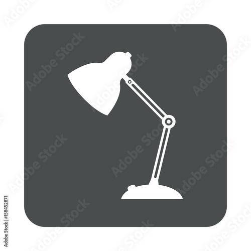 Poster  Icono plano lampara tipo flexo en cuadrado gris