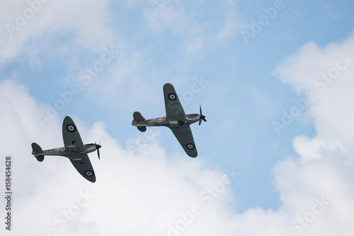 Foto op Canvas Luchtsport Air Show, Sky Aerobatic Team, Plane acrobatics - Supermarine Spitfire