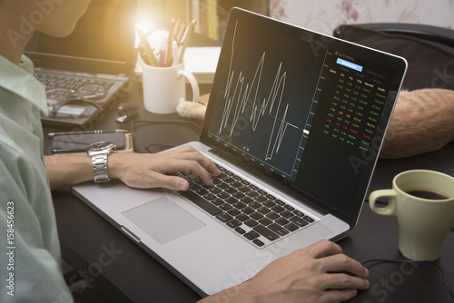 Fotografie, Obraz  business hand working on computer notebook with Finance Trading Stock Graph Chart homepage on computer screen