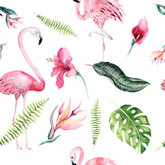 Panel Szklany Podświetlane Do pokoju dziewczyny Tropical isolated seamless pattern with flamingo. Watercolor tropic drawing, rose bird and greenery palm tree, tropic green texture, exotic flower. Aloha set
