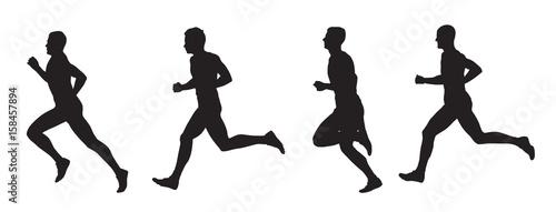 Fotografia  Running men, set of vector silhouettes