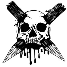 Skull With Two Stakes