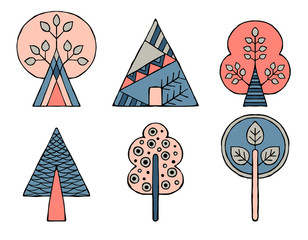 Panel SzklanySet of vector hand drawn decorative stylized childish trees. Doodle style, graphic illustration. Ornamental cute hand drawing in pink, blue colors. Series of doodle, cartoon, sketch illustrations.