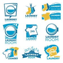 Laundry Service Vector Template Icons Set Of Linen, Washing Machine And Detergent