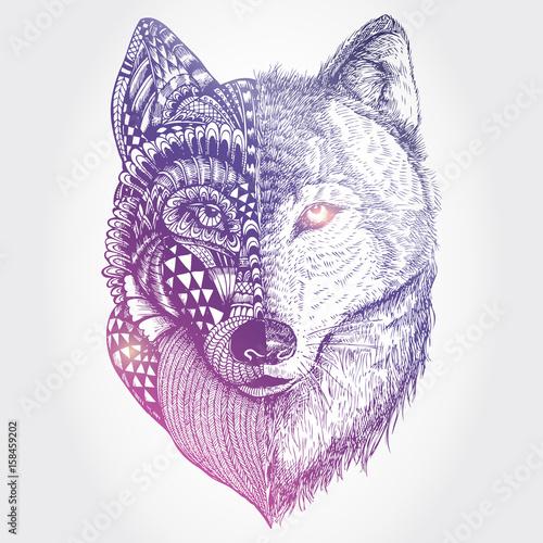abstrakcyjny-wilk-na-bialym-tle