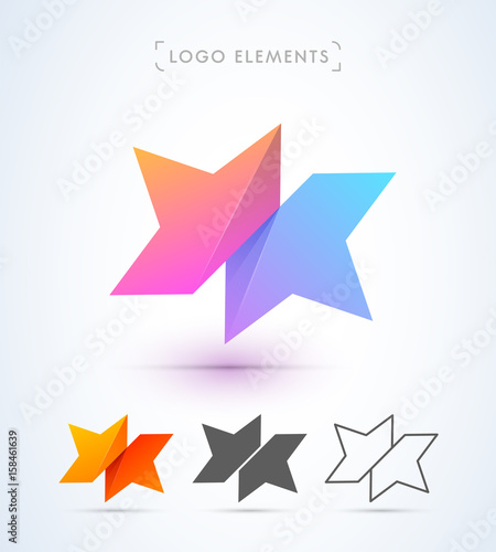Poster Geometric animals Abstract star symbol logo template. Origami paper style. Material design.