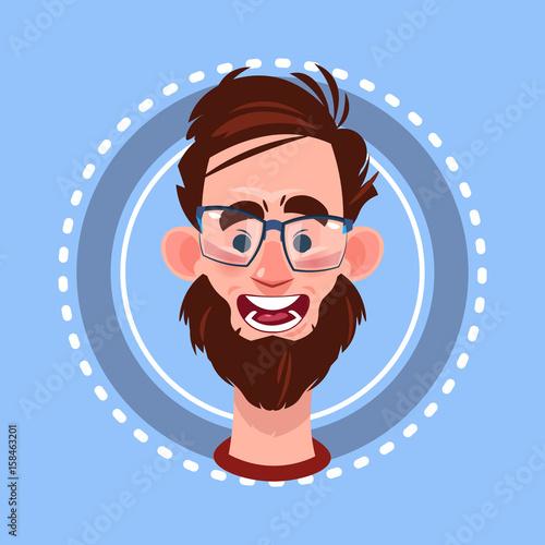Papiers peints Avion, ballon Profile Icon Male Emotion Avatar, Man Cartoon Portrait Surprised Face Flat Vector Illustration