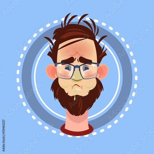 Papiers peints Avion, ballon Profile Icon Male Emotion Avatar, Man Cartoon Portrait Feeking Sick Face Flat Vector Illustration