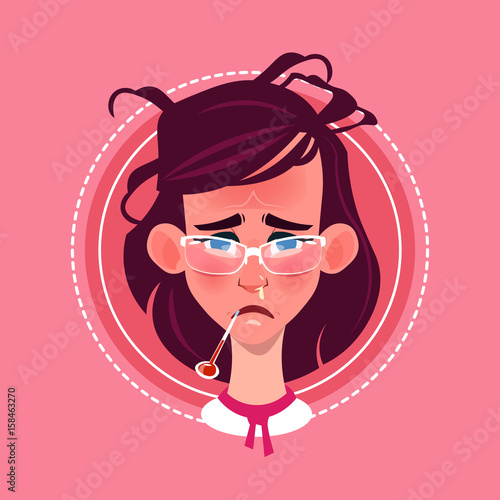 Staande foto Kinderkamer Profile Icon Female Emotion Avatar, Woman Cartoon Portrait Feeking Sick Face Flat Vector Illustration