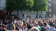 Crowd of people (blurred) on crowded street on a summer day - blur city life.