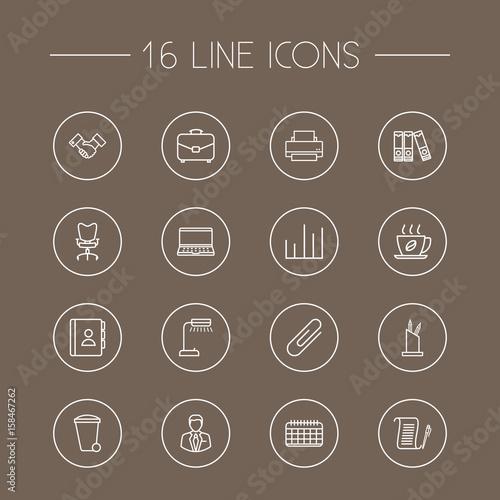 Fotografie, Obraz  Set Of 16 Work Outline Icons Set