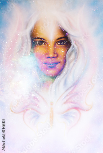 Goddess Woman in Cosmic space and butterfly. Cosmic Space background. eye contact.