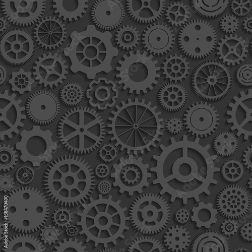 Photo  seamless background with grey realistic  cogwheels
