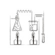 sketch blurred silhouette of chemical laboratory with an experiment in process vector illustration