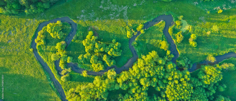 Fototapety, obrazy: Aerial view of river valley in beautiful sunset light