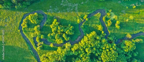 Poster Luchtfoto Aerial view of river valley in beautiful sunset light