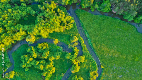 Aerial view of river valley in beautiful sunset light