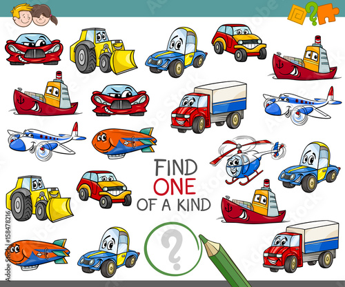 Foto op Canvas Cartoon cars find one of a kind activity game