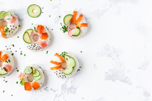 Sushi Donuts Set On White Background. Sushi Trend. Creative Food. Flat Lay, Top View