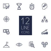 Set Of 12 Idea Outline Icons S...