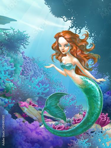 Foto op Plexiglas Zeemeermin Hand drawn illustration of a mythological creature beautiful sea mermaid lady