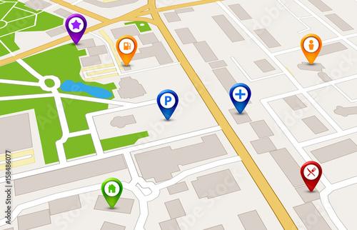 Plakat Perspektywa city map Koncepcja usługi GPS. 3d projekt mapy miasta