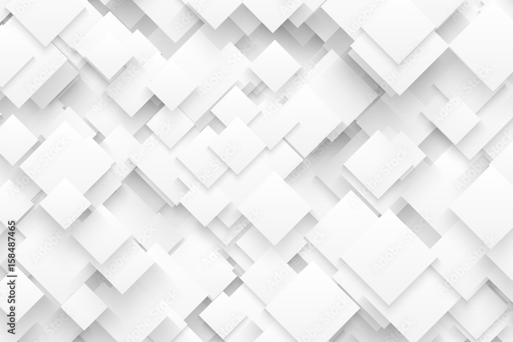 Abstract 3D Vector Technology White Background. Technological Crystalline Structure. Blank Backdrop