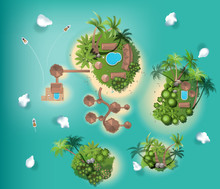 Islands Top View,  Travel, With Tree Top , Resort, Interior Design,  For Landscape Vector Illustration