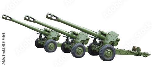Three old green russian artillery field cannon gun isolated over white Canvas Print