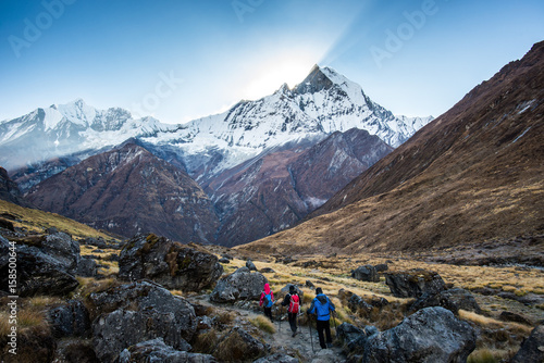 The traveler's walking on the way to Annapurna base camp Wallpaper Mural