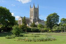 St Edmundsbury Cathedral With Flower Borders In Foreground