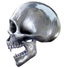 The Vampire Metal Skull On White Background. 3d Rendering.