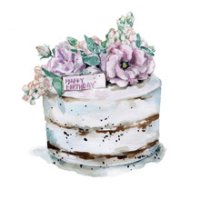 Pink Flowers Cake.Hand Drawn W...