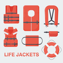 Life Jacket Vector Flat Set