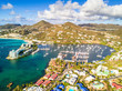 Tropical resorts built on coastline in Saint Martin