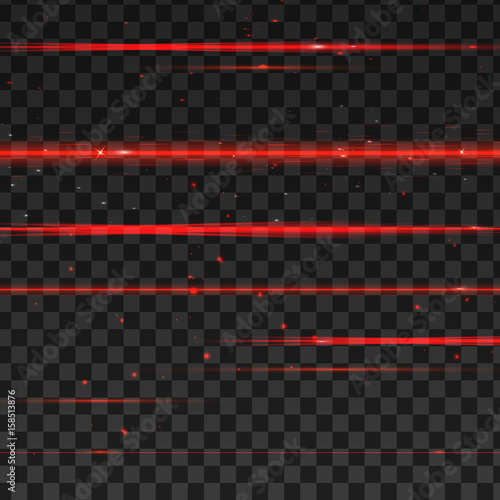 Abstract red laser beams. Isolated on transparent black background. Vector illustration Wall mural