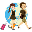 Cute young couple traveling with suitcase and earth map on background