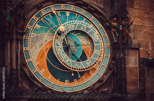 Staande foto Monument Historical medieval astronomical clock in Old Town Square in Prague, Czech Republic